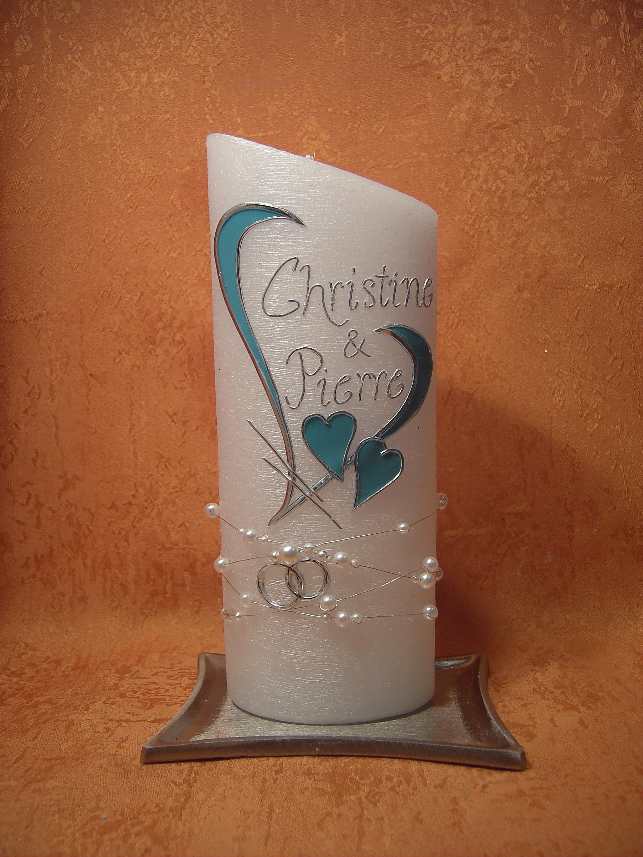 Kerzen und Geschenke Hochzeitskerze Perlmutt Oval Einzigartig Goldene Hochzeit Geschenk Kerze
