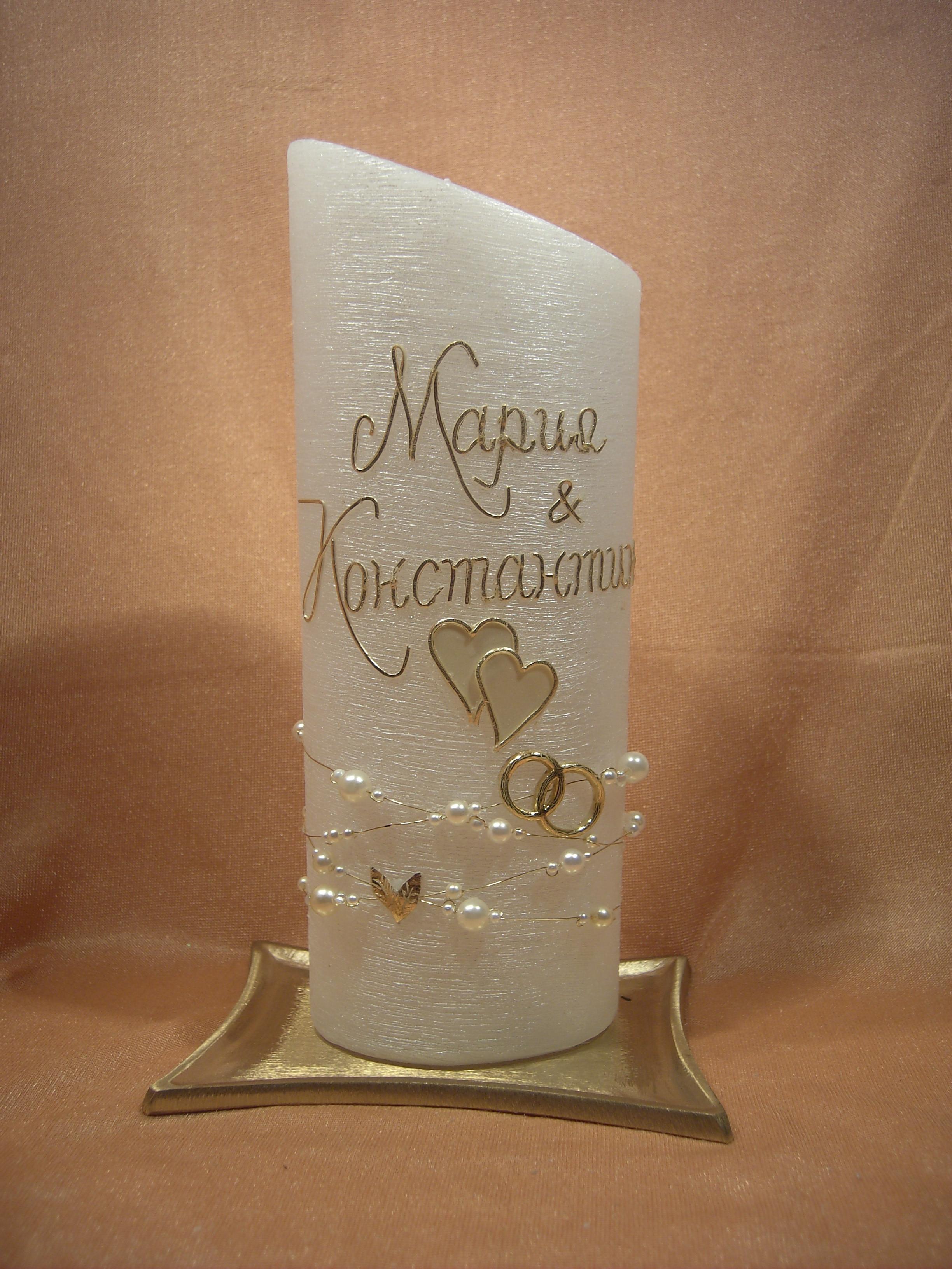 Kerzen und Geschenke - Hochzeitskerze Perlmutt Oval