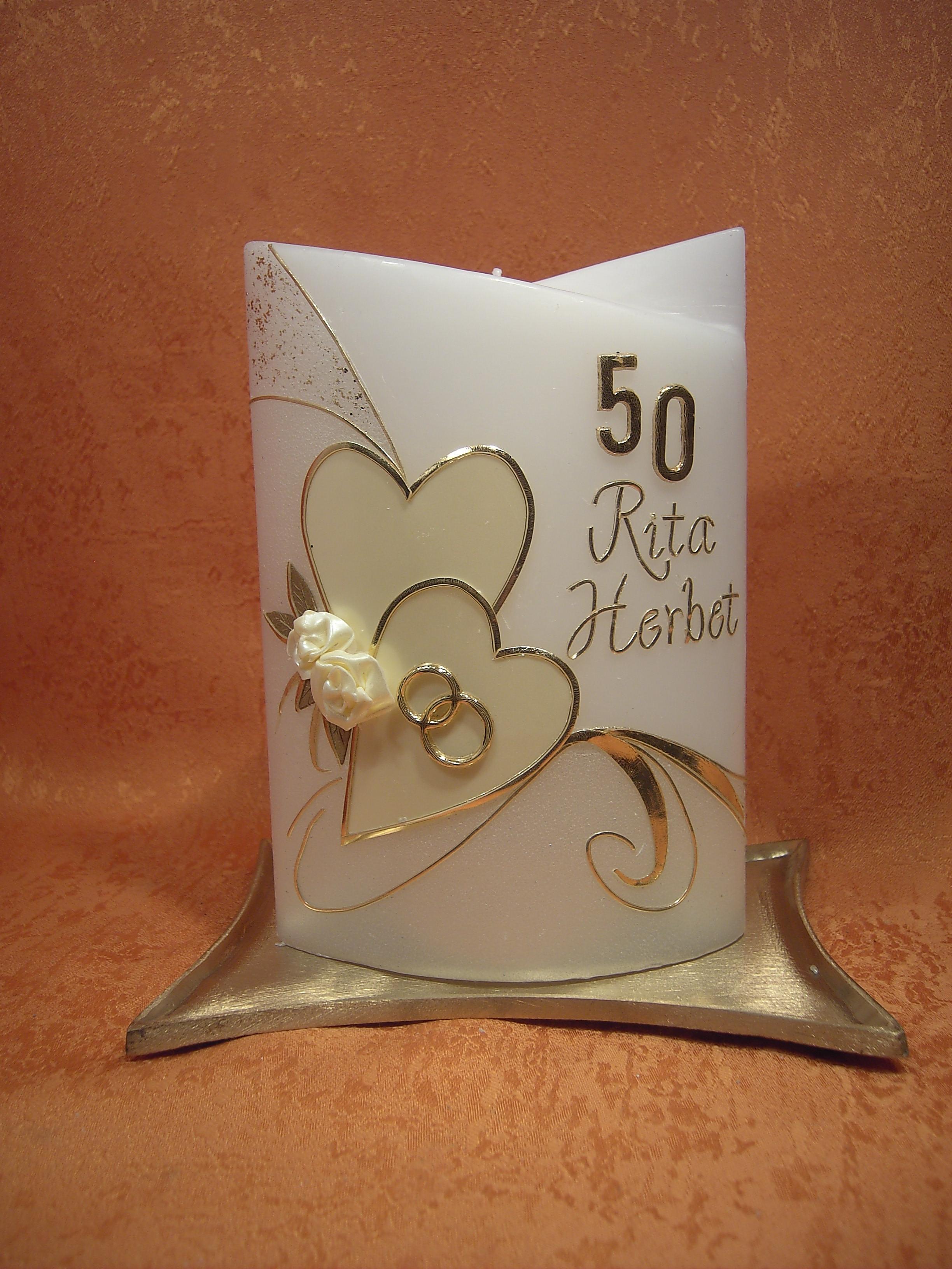 Goldene Hochzeitskerzen Zwei Herzen Mit Rosen 802 A