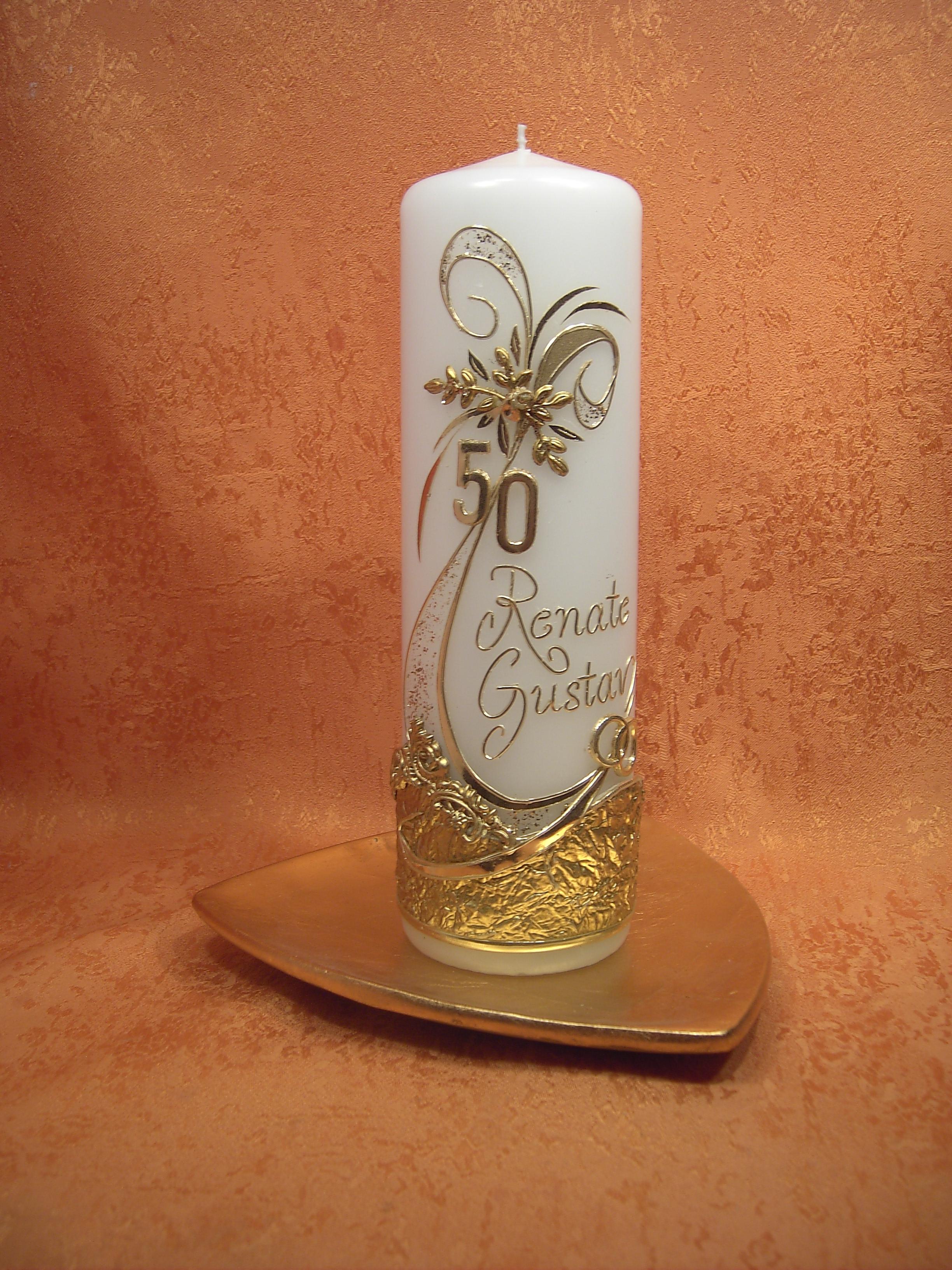 Kerzen Und Geschenke Goldene Hochzeitskerzen Kerzen Und